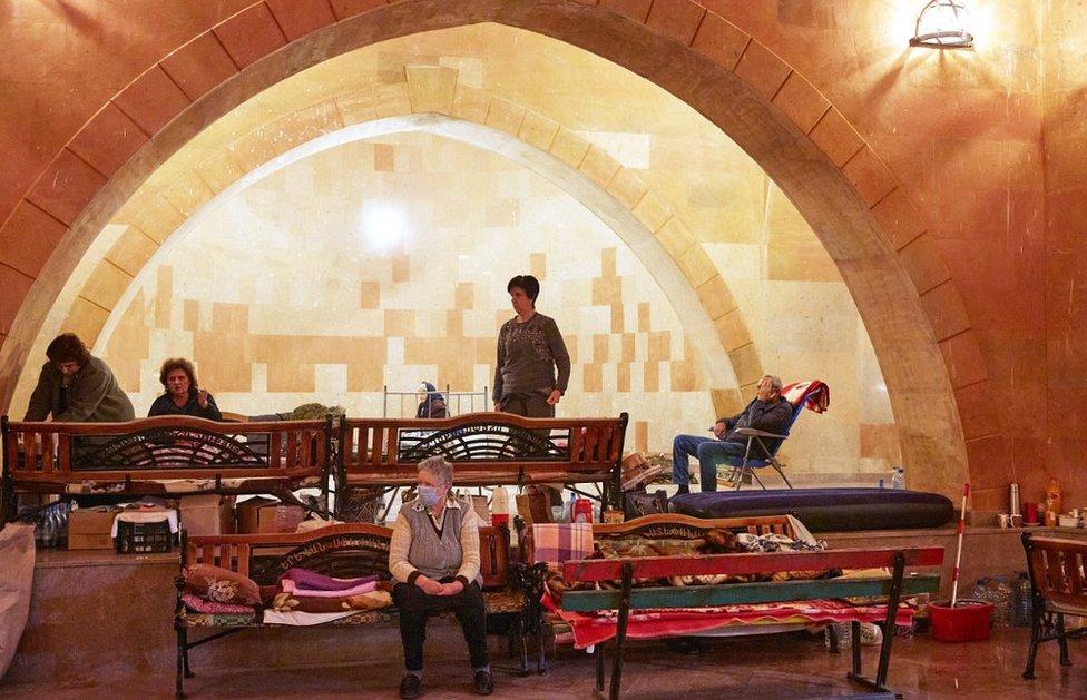 Stepanakert civilians sheltering in church, 12 Oct 20
