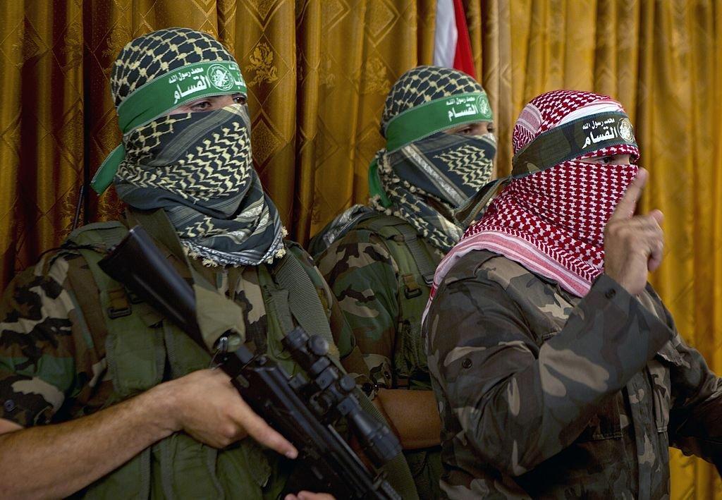 Las brigadas Izzedine al-Qassam en rueda de prensa, julio de 2014