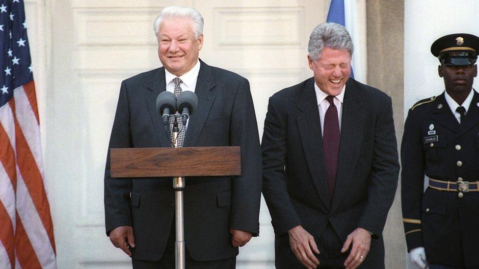 Bil Klinton i Boris Jeljcin na konferenciji za štampu
