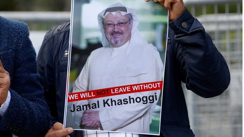 A demonstrator holds picture of Saudi journalist Jamal Khashoggi during a protest in front of Saudi Arabia's consulate in Istanbul on 5 October 2018
