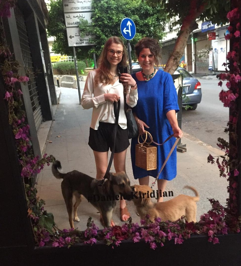 Leila (right), Lizzie and their dogs