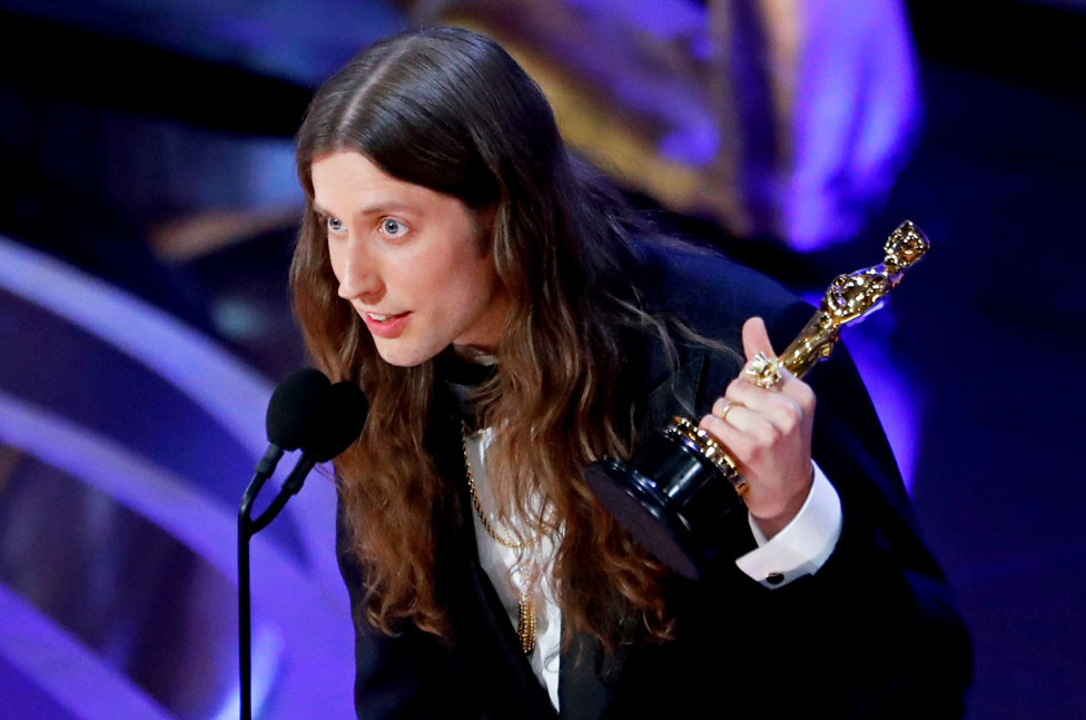 "Ludwig Goransson accepts the Best Original Score award for ""Black Panther"""
