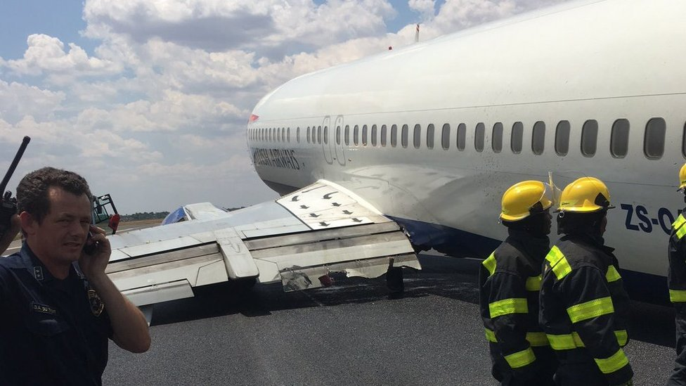 The BA plane, owned and operated by Comair, on the runway at OR Tambo International Airport