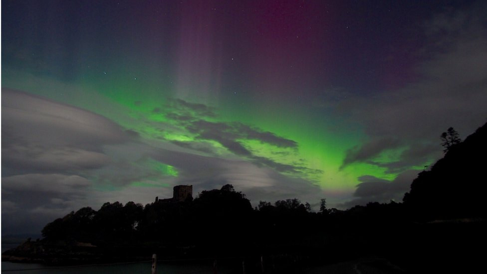 Fiona Baker said she had been aurora hunting multiple times to Iceland and Finland without much luck, but never expected to see them like this on holiday in the UK. She took this overlooking Dunollie Castle in Oban, Scotland, at 1.30am.