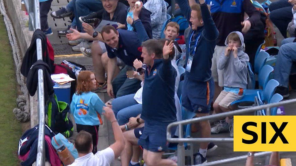 England v Pakistan: Eoin Morgan six caught by spectator