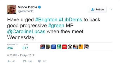 Vince Cable tweet