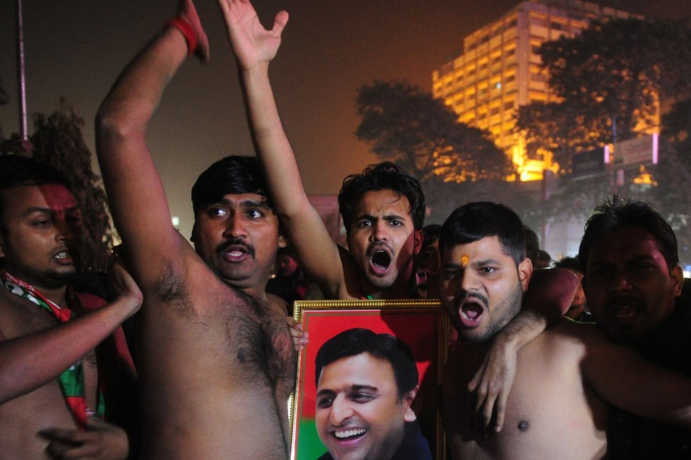 Indian supporters of the Chief Minister of the state of Uttar Pradesh Akhilesh Yadav take part in a protest after Yadav was expelled from his ruling regional Samajwadi Party in Allahabad on December 30, 2016.
