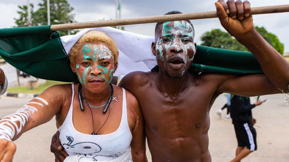 Protesters are seen during the ongoing protest against the unjust brutality of The Nigerian Police Force Unit , the Special Anti-Robbery Squad (SARS), at Obafemi Awolowo way, Ikeja Lagos, on October 19, 2020