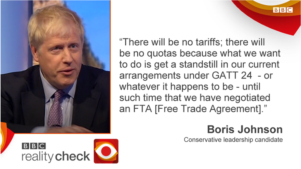 Boris Johnson saying: There will be no tariffs; there will be no quotas because what we want to do is get a standstill in our current arrangements under GATT 24 - or whatever it happens to be - until such time that we have negotiated an FTA [Free Trade Agreement].