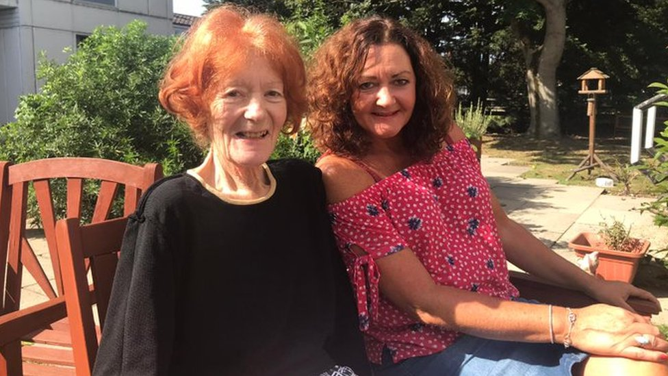 Trish (left) pictured with daughter Colette last year