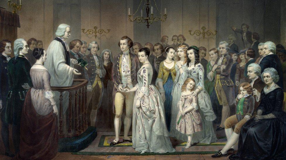 Pintura del casamiento entre George Washington y Martha Curtis.