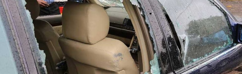 Jacob Juma's bullet-ridden car - pictured on Friday 6 May 2016 in Nairobi, Kenya