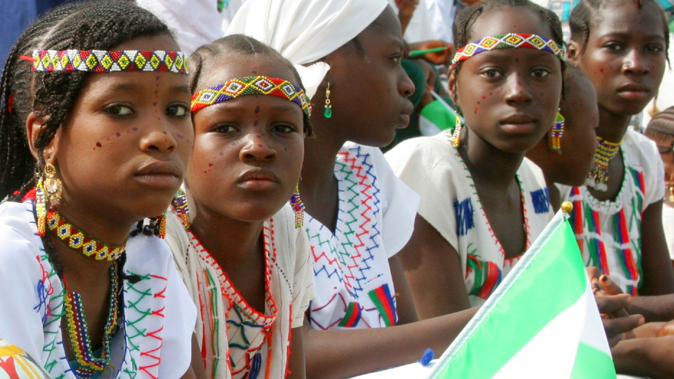 Schoolchildren in cultural costumes with a flag of Nigeria at the 55th anniversary celebrations - Kaduna, Nigeria, 1 October 2015