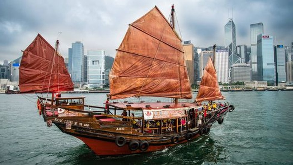 The image of a Chinese junk boat is a symbol of Hong Kong and recognised around the world.