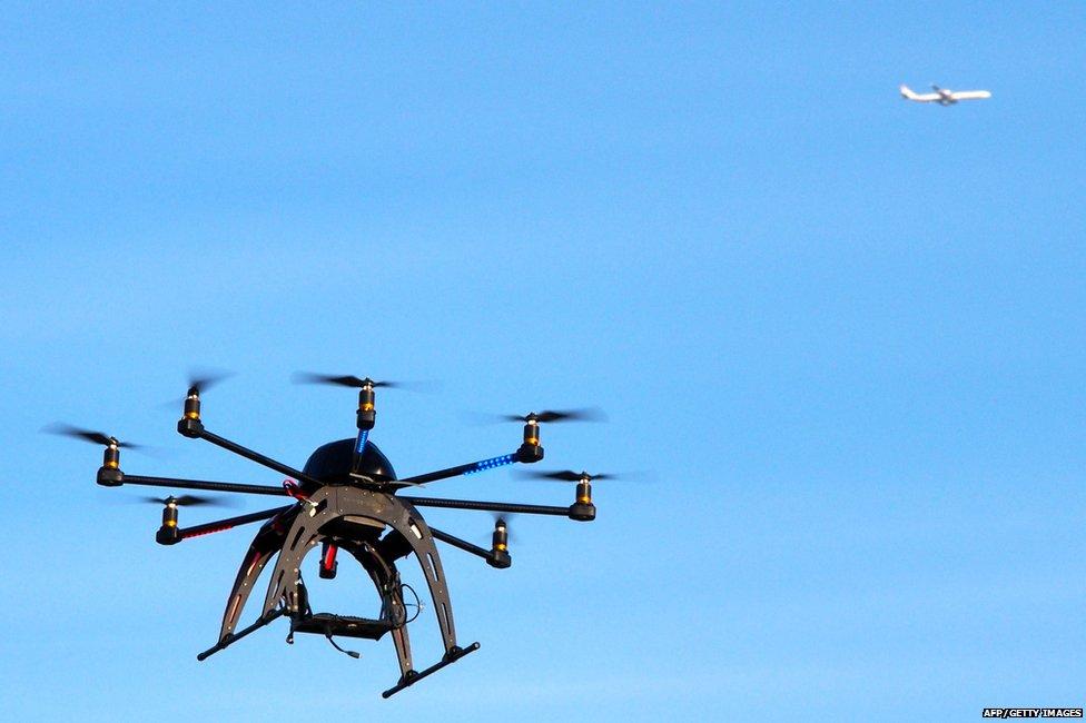 Drone below a plane