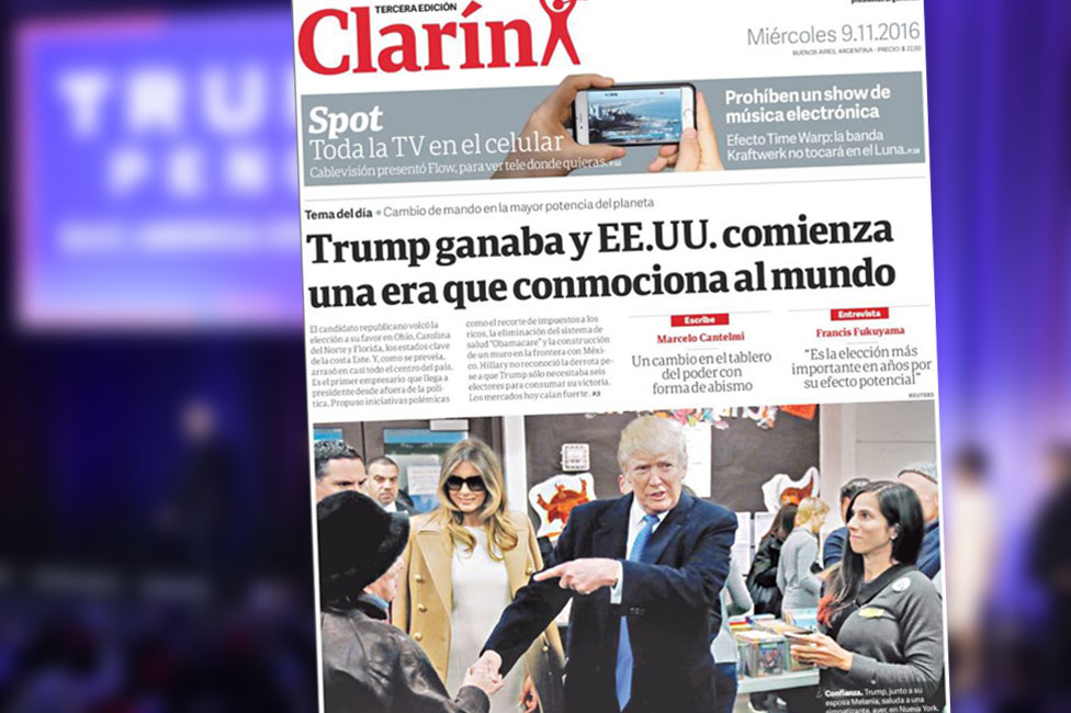 Screengrab of front page of Argentinean newspaper Clarin