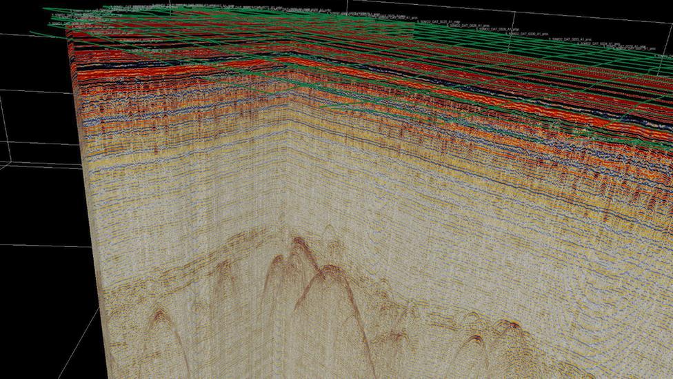 Radarski snimak na kojem se vidi struktura tunela
