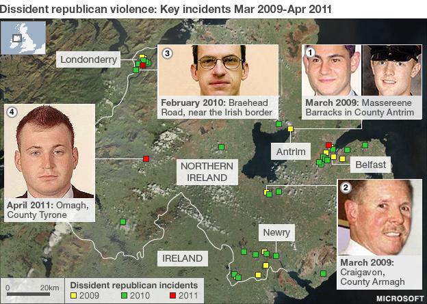 Dissident republican attacks map