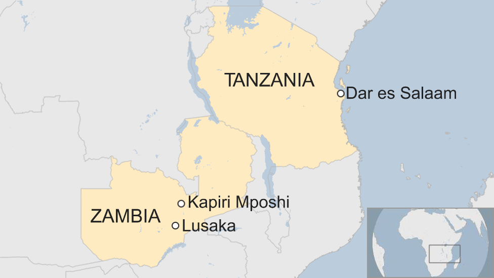 A map of Tanzania and Zamibia