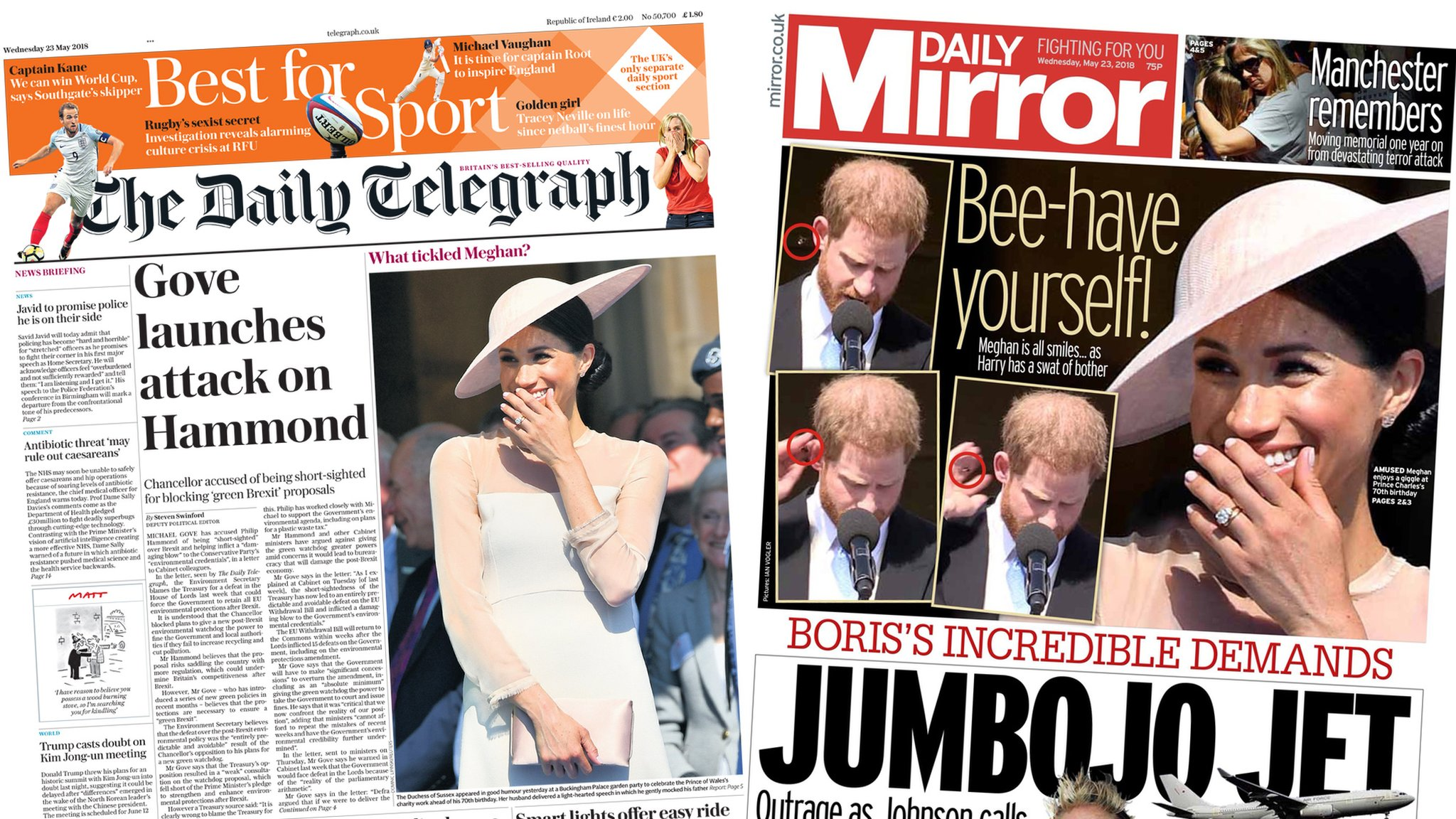 The Papers: 'JumBoJo jet' and Gove attacks Hammond