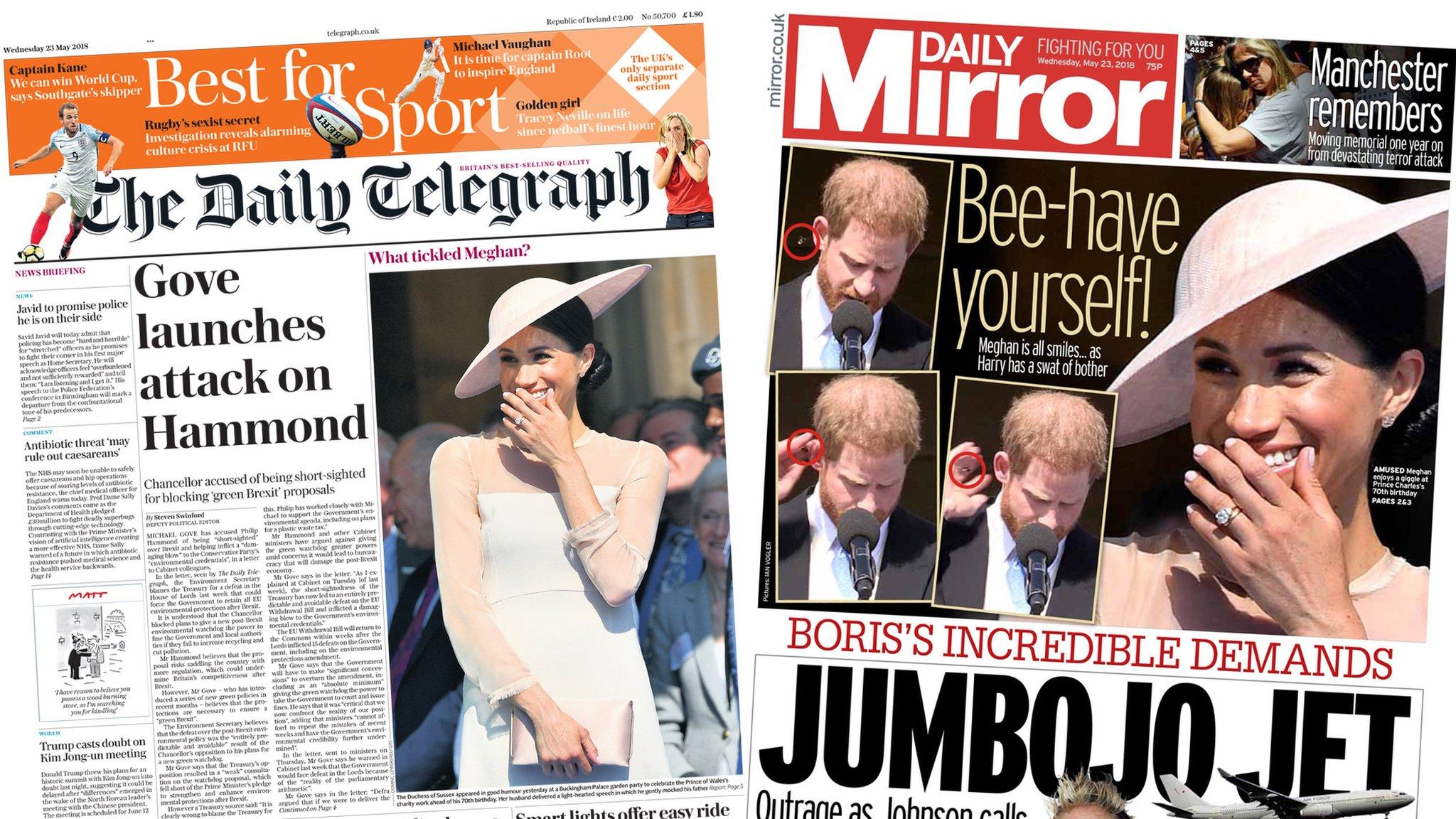 The Papers: 'JumBoJo jet' and Gove attacks Hammond