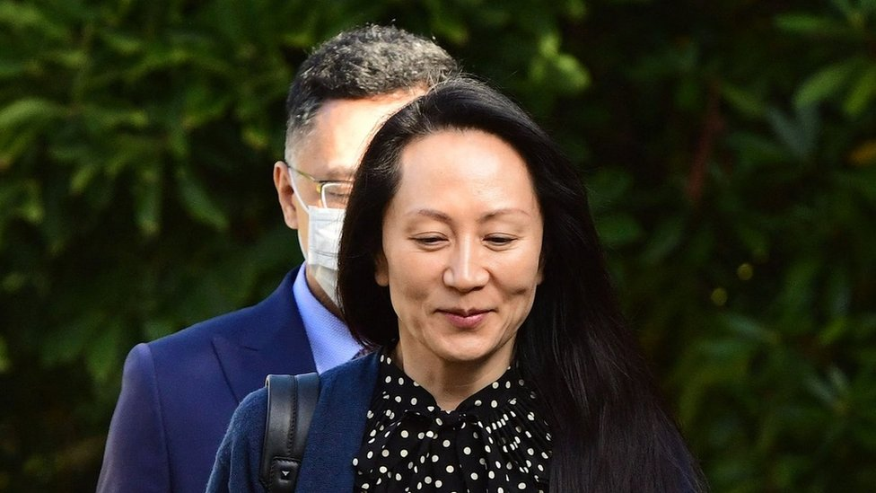 Meng Wanzhou leaving her home in Vancouver (24 September)