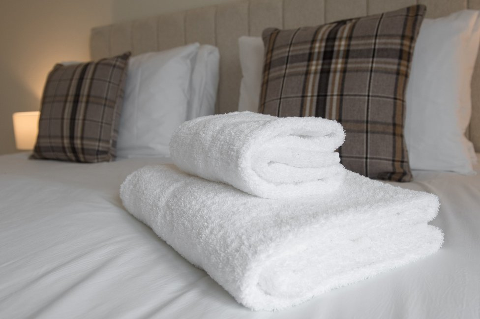 towels on a bed