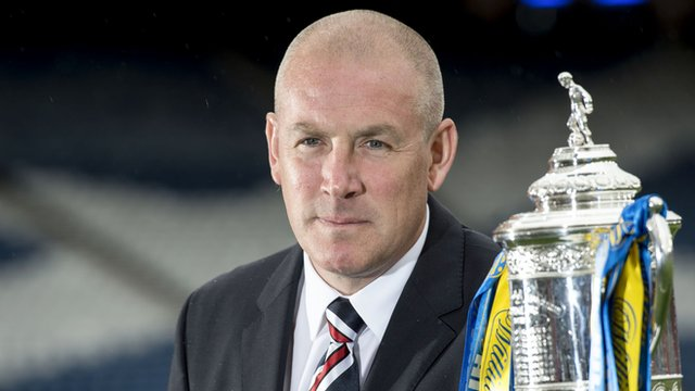 Rangers boss Mark Warburton poses with the Scottish Cup