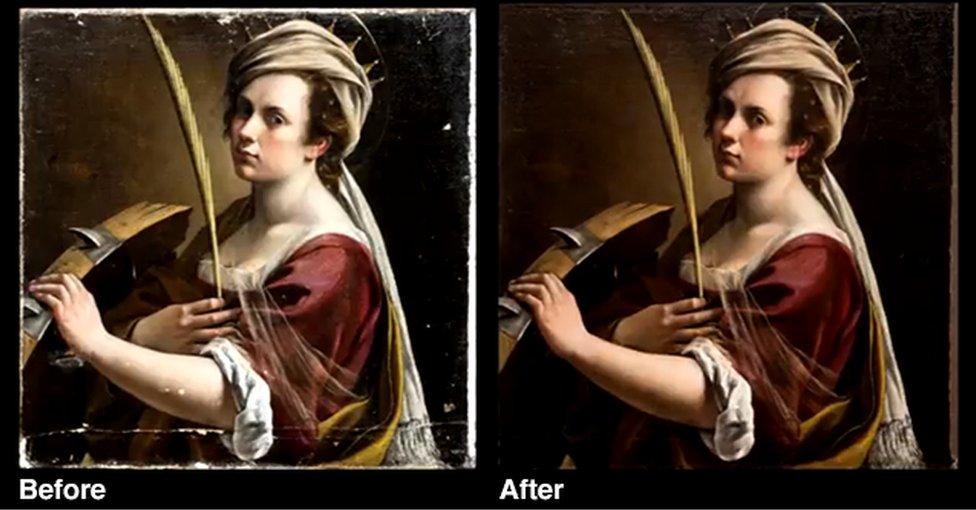 Artemisia Gentileschi Self Portrait before and after
