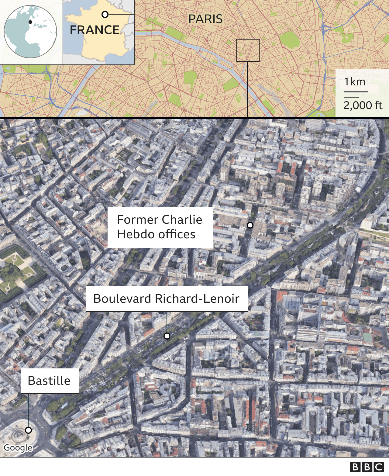 Charlie Hebdo: Stabbings suspect 'was trying to target magazine' thumbnail
