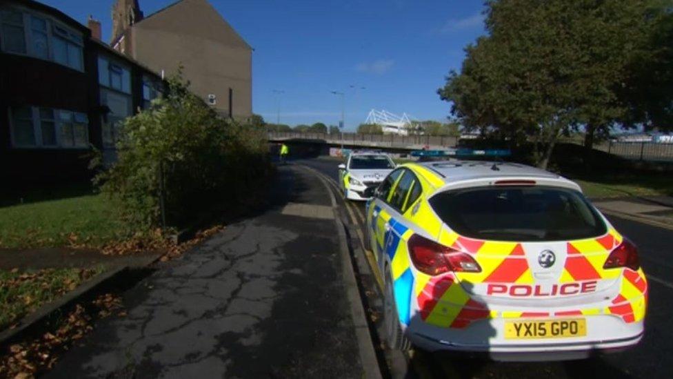 Police near the scene