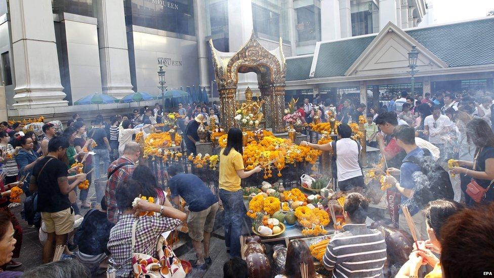 New Year celebrations at the Erawan Shrine in Bangkok in January 2015