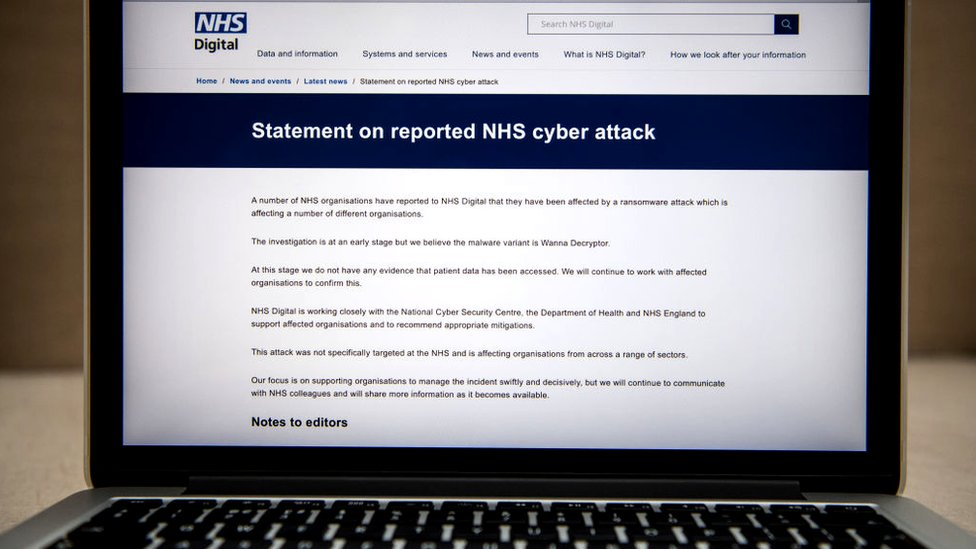 NHS Digital statement on a laptop