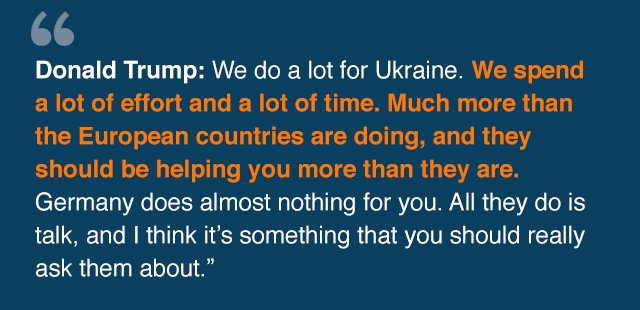Graphic quoting Trump: We do ·a lot for Ukraine. We spend a lot of effort and a lot of time. Much more than the European countries are doing, and they should be helping you more than they are. Germany does almost nothing for you. All they do is talk, and I think it' something that you should really ask them about.