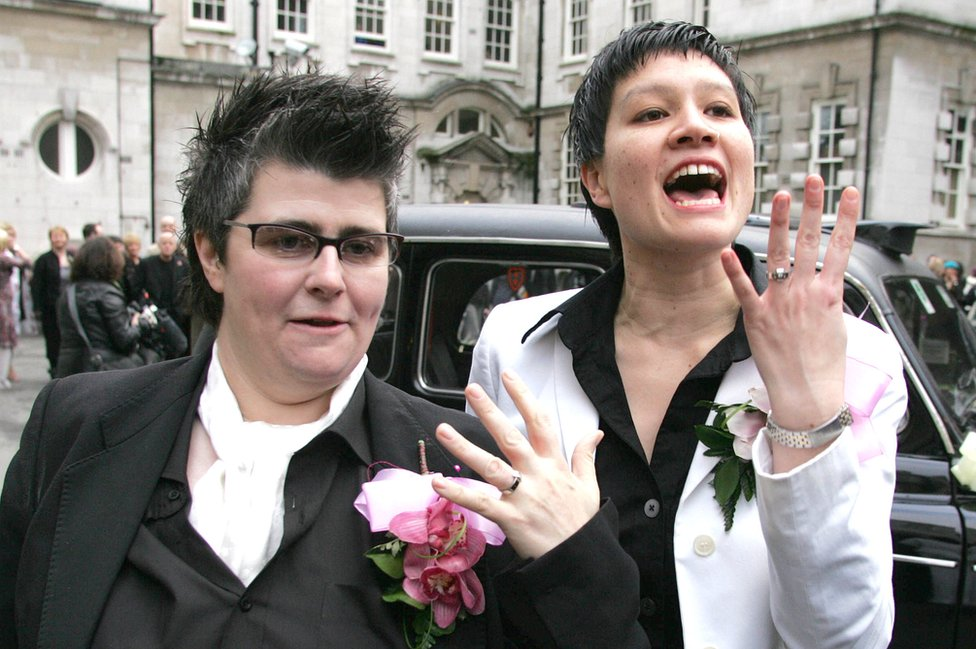 Grainne Close and Shannon Sickles show off their rings after their civil partnership in 2005
