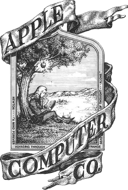 El primer logo de Apple, que muestra a Isaac Newton sentado debajo de la manzana que supuestamente lo golpeó en la cabeza
