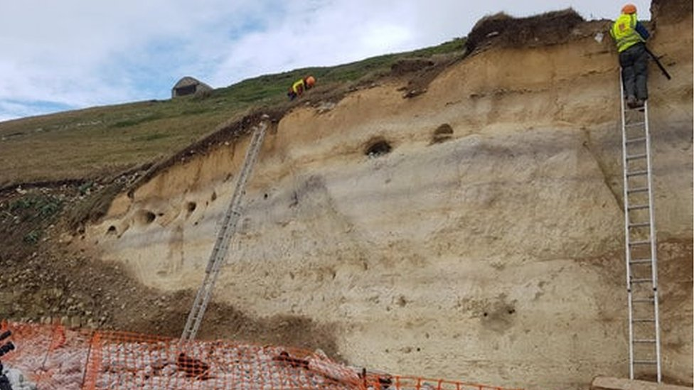 Looking up at the cliff as experts excavate the remains
