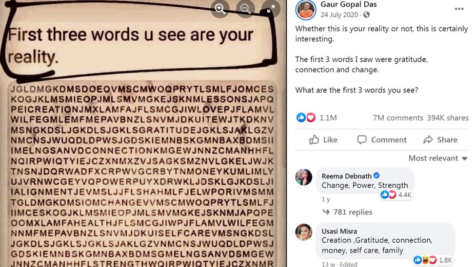 Post no Facebook mostra caça-palavras