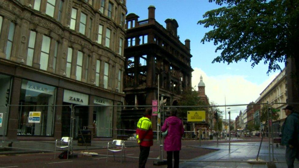 Belfast safety cordon around Primark in Belfast following fire