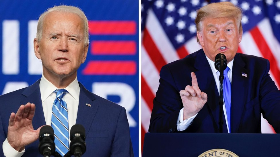 Combination picture of Democratic U.S. presidential nominee Joe Biden and US President Donald Trump speaking about the early results of the 2020 election on 4 November 2020