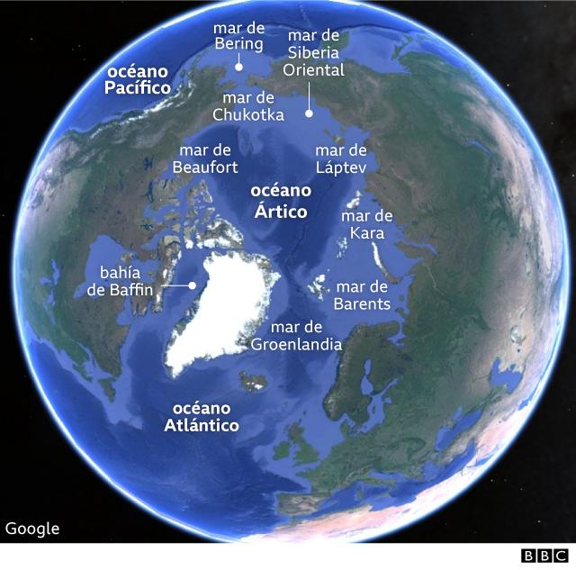 Mapa de los mares del Ártico