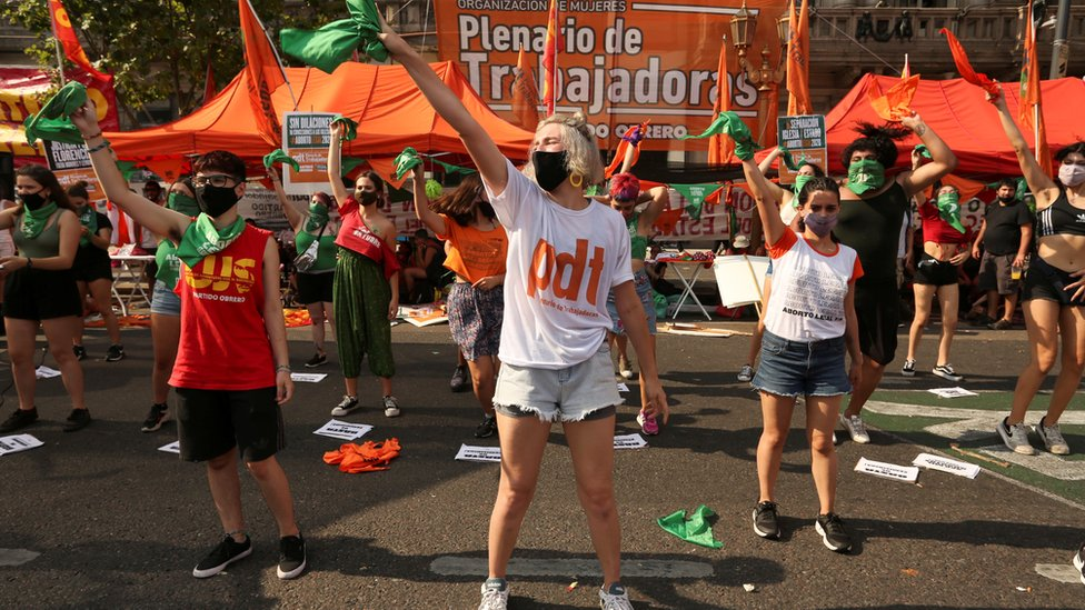 People in favour of legalising abortion gathered in front of Congress in Buenos Aires on Tuesday