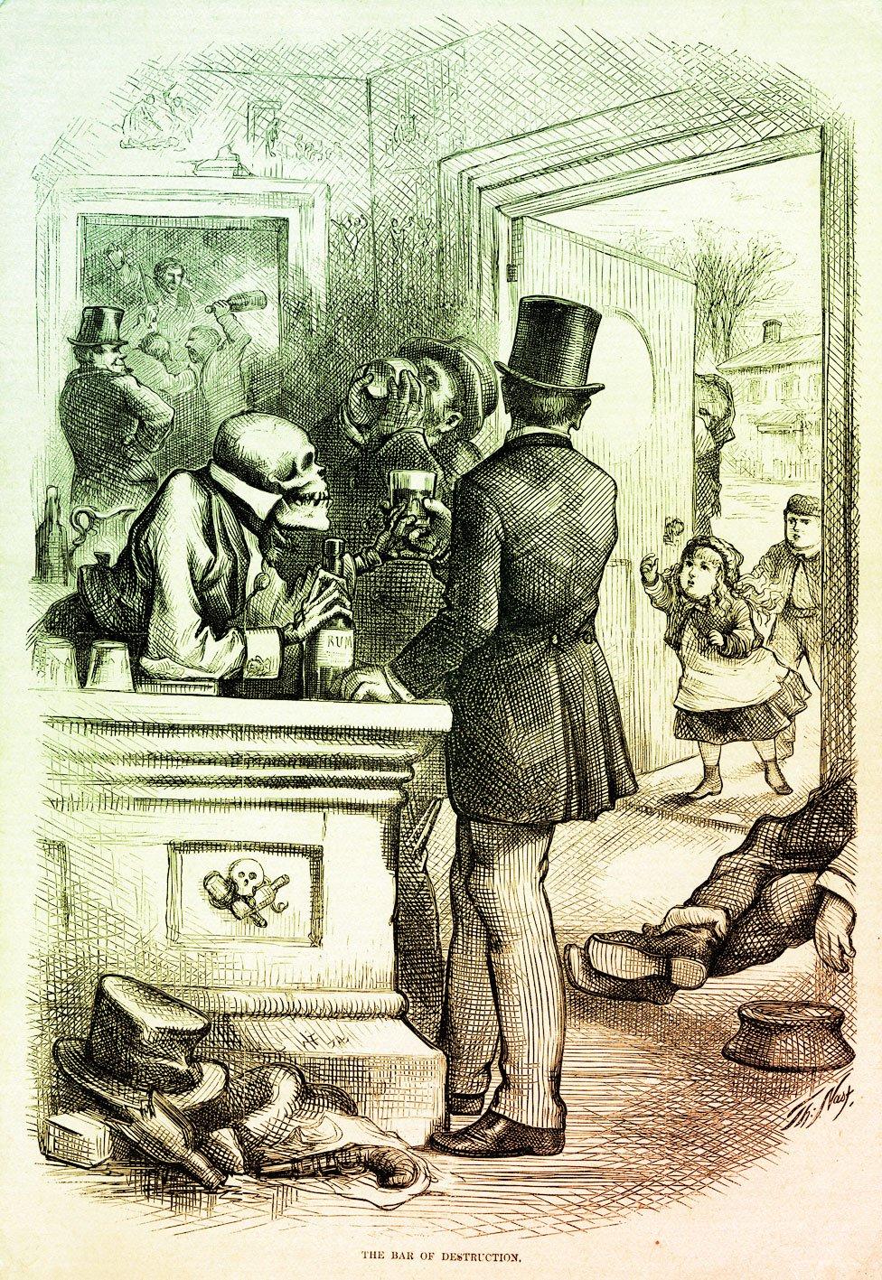En este cartel, la muerte le sirve una copa de ron a un padre cuya hija le implora que no la tome desde fuera del bar.