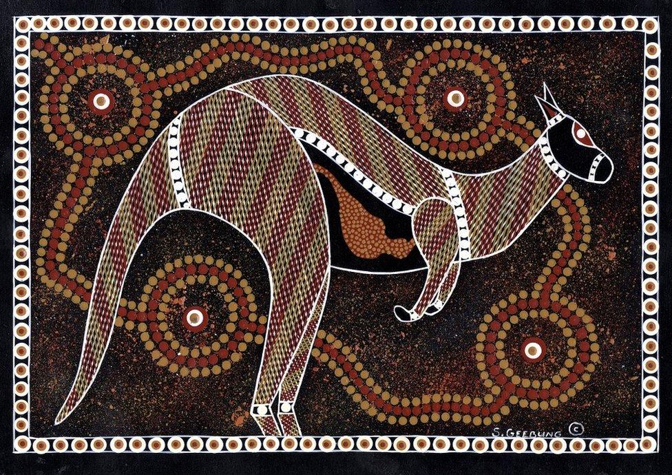 Pintura a puntos de un canguro, del artista indígena australiano Stanley Geebung.