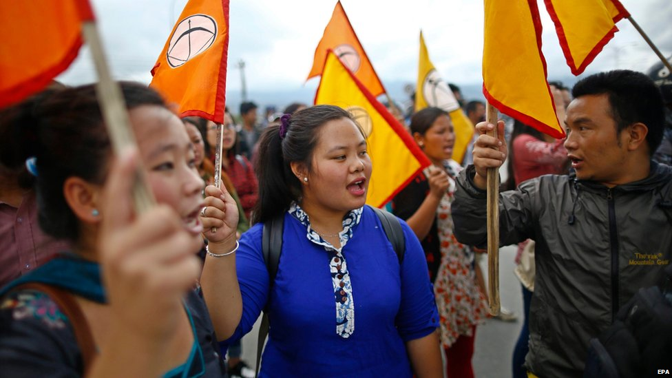 Activists of Nepal Federation of Indigenous Nationalities chant slogans during a general strike called by the Nepal Federation of Indigenous Nationalities in Kathmandu, Nepal (23 August 2015)