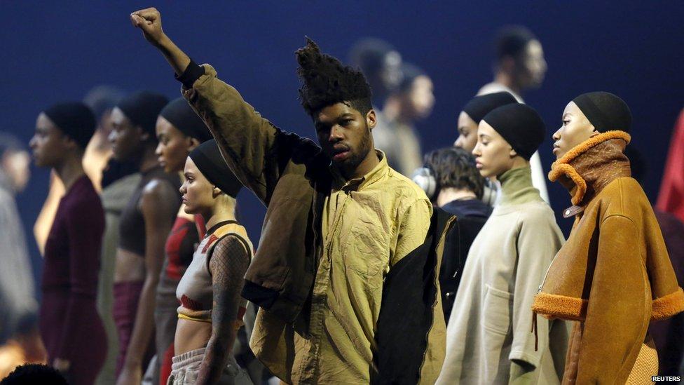 Model at Kanye West's album launch