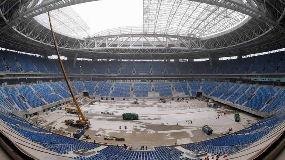 朝鮮勞工曾在聖彼得堡參加建設一個舉行世界杯賽事的場館。