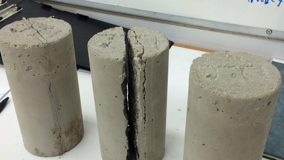 Cement cores with plastic in them