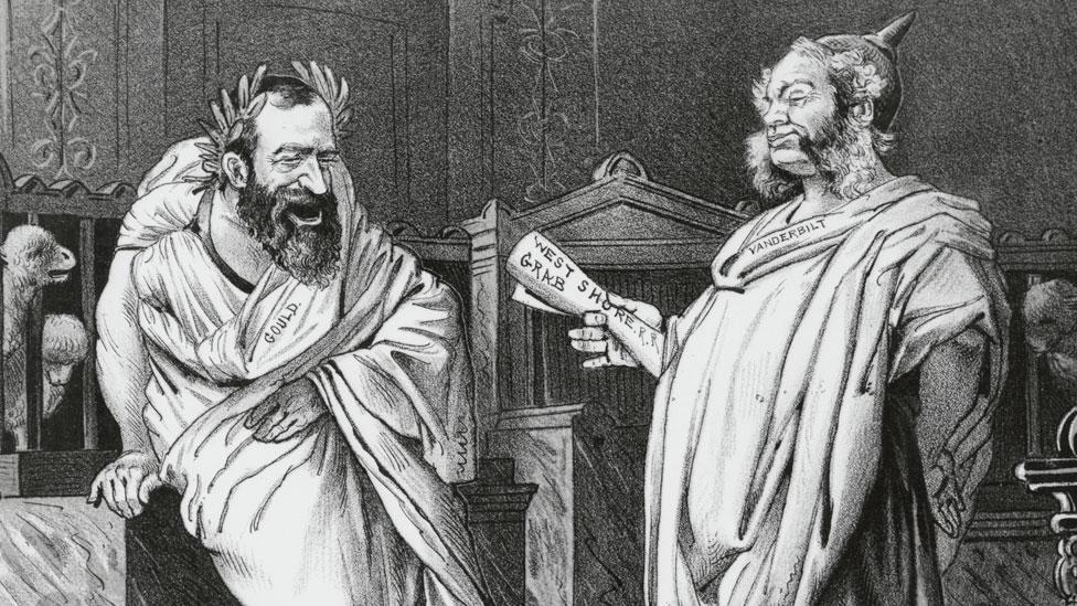 Gould (izq) y William Vanderbilt (hijo y heredero de Cornelius).