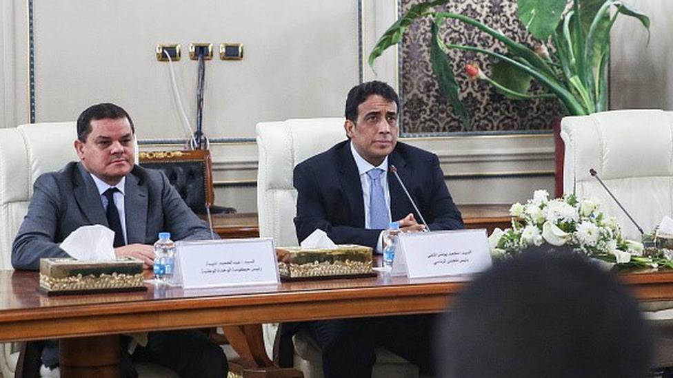 Libya Başbakanı Dibeybe ve Başkanlık Konseyi Başkanı Menfi